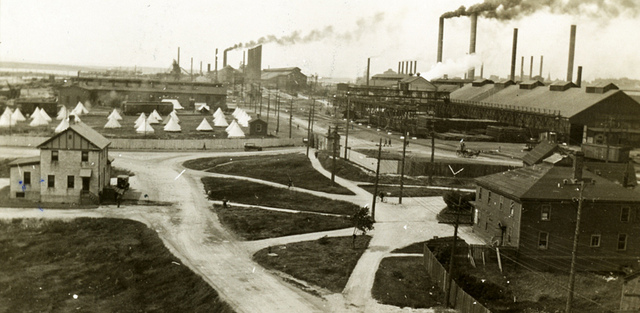 A steel plant during a strike in 1923
