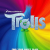 A toy troll stands behind the word Trolls; the background is a swirly rainbow field.